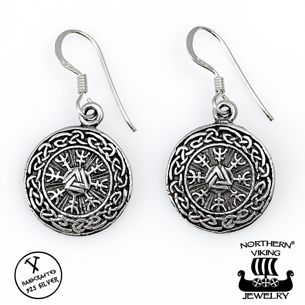 Northern Viking JewelryR Earrings 925 Silver Round Valknut