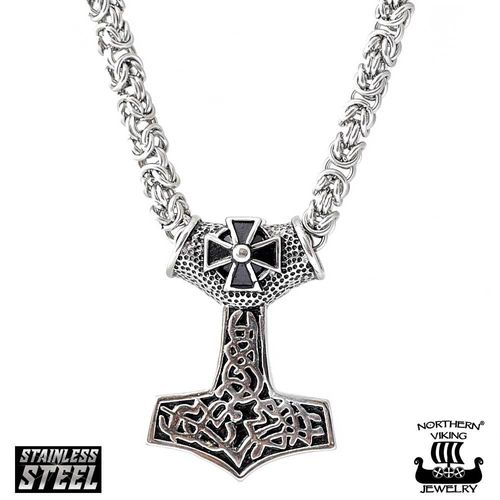 Northern Viking Jewelry® Black Tribe Cross Kuningasketjulla