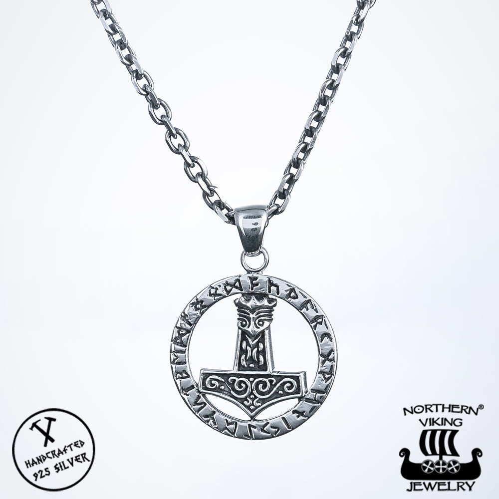 chain cm viking thor bavipower necklace hammer products pendant mjolnir nordic black s jewelry thors leather