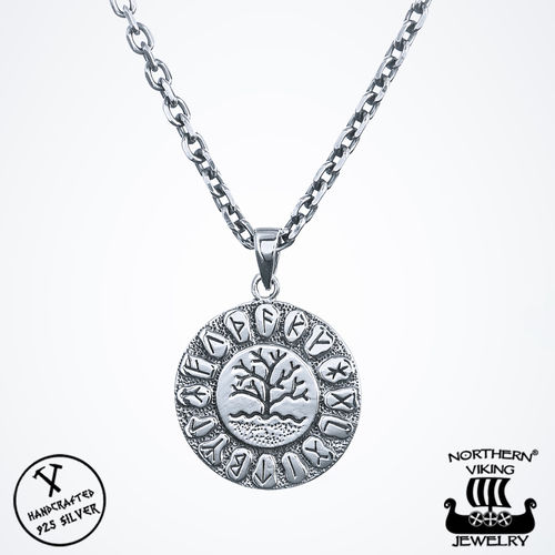 Northern Viking Jewelry® 925-Hopea Riimu Tree Of Life-Riipus