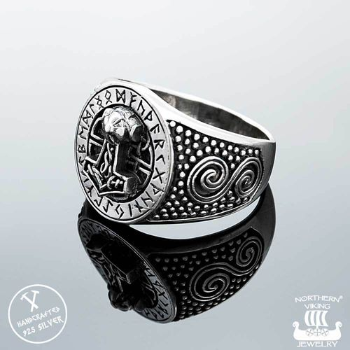 925-Hopea Riimu Thorin Vasara-Sormus, Northern Viking Jewelry