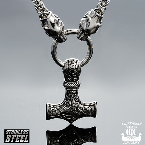 Northern Viking Jewelry®-Kingchain with Wolfhead + Knotwork
