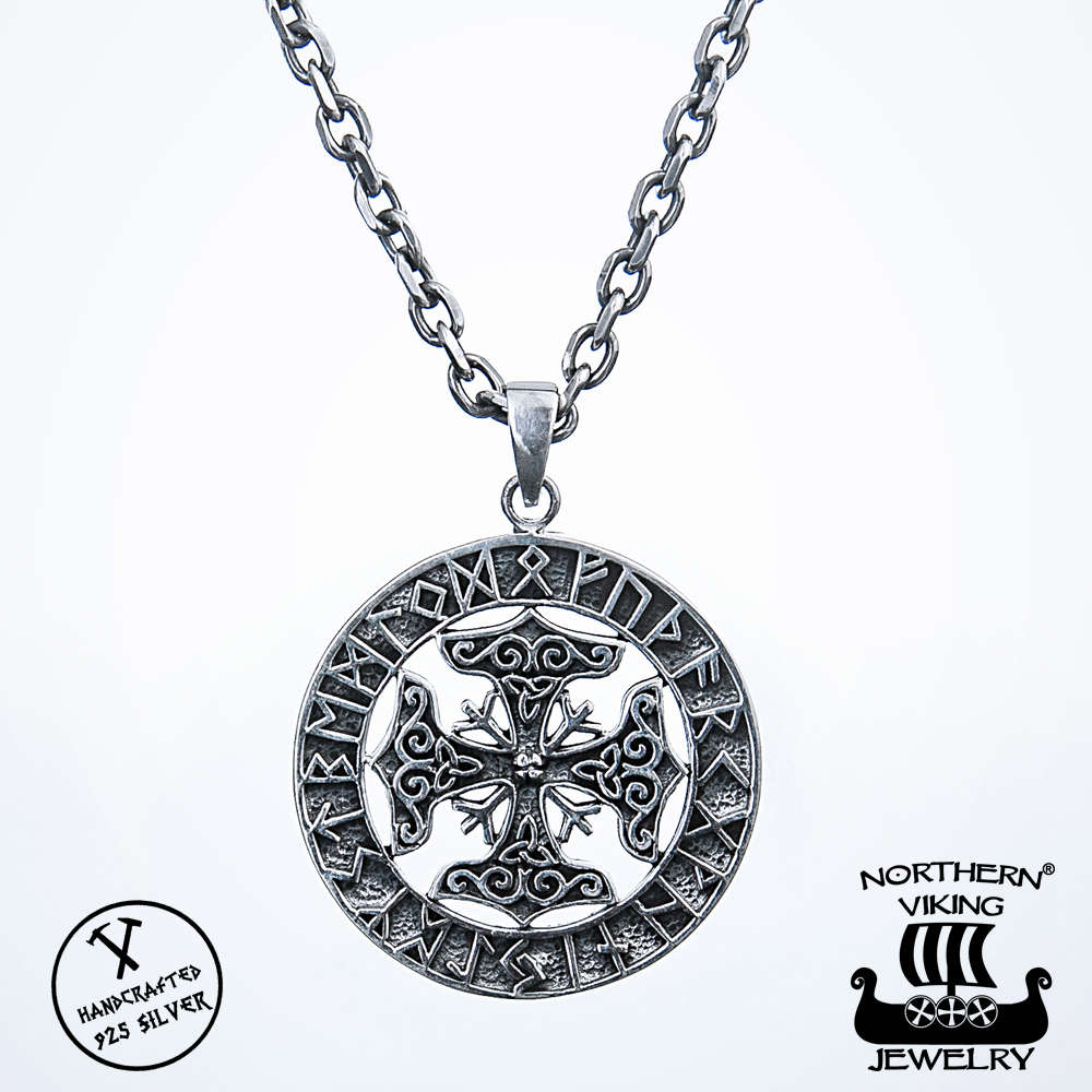 Northern viking jewelry 925 silver four thors hammer pendant aloadofball Image collections