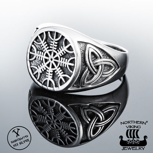 925-Silver Helm Of Awe Ring, Northern Viking Jewelry®