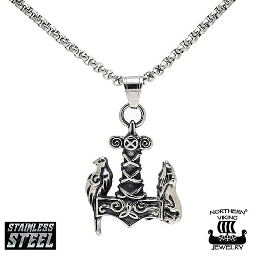 "Northern Viking Jewelry® ""Raven Wof Thor's Hammer"""