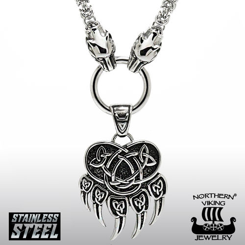 Northern Viking Jewelry®-Kingchain with Wolfhead + Bear Paw Pendant