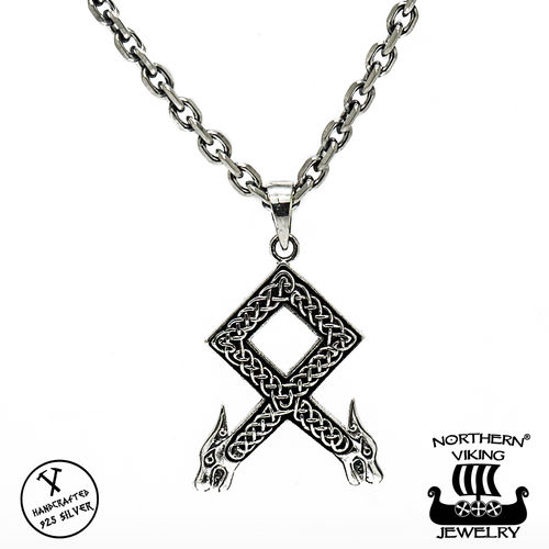 Northern Viking Jewelry® 925-Hopea Othala-riimu Riipus