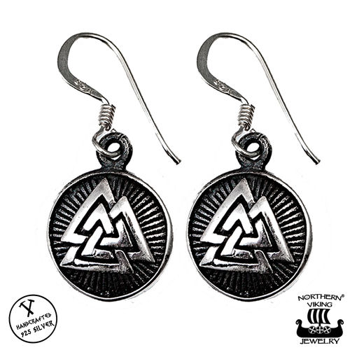 "Northern Viking Jewelry® ""925 Oksidoitu Valknut-Korvakorut"""