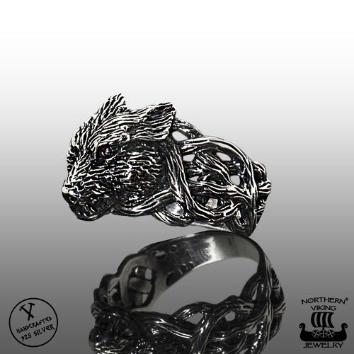 925-Hopea Fenrir Wolf-Sormus, Northern Viking Jewelry®