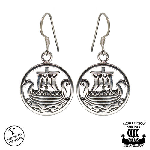 Northern Viking Jewelry® Hopeiset Viikinkilaiva Korvakorut