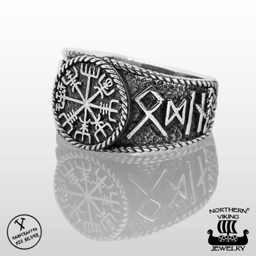 925-Hopea Riimu Vegvisir-Sormus, Northern Viking Jewelry®