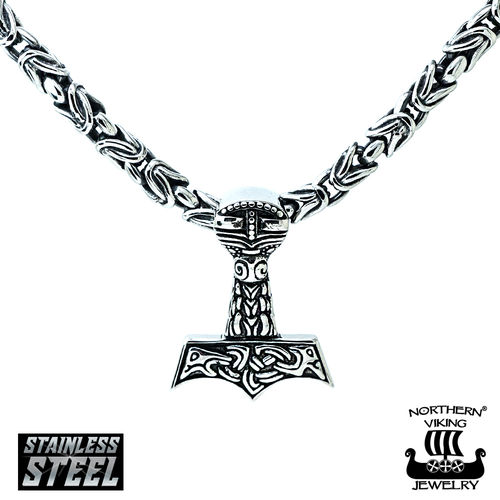 Northern Viking Jewelry® Thor's Hammer With Byzantine Chain