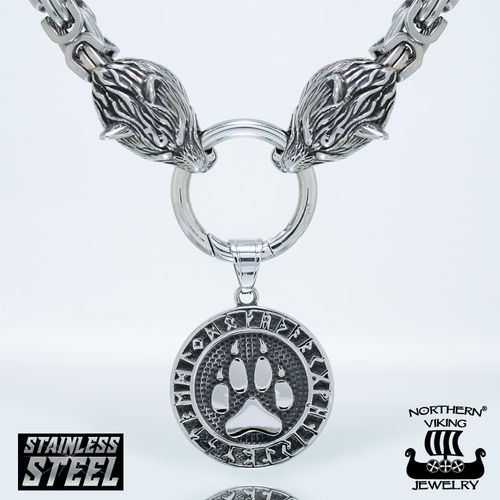 "Northern Viking Jewelry® Necklace ""Clasp Byzantine With Wolfhead"" + Wolf Paw"