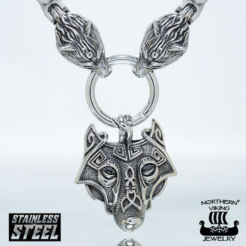 "Northern Viking Jewelry® Necklace ""Clasp Byzantine With Wolfhead"" + Guardian Wolf"