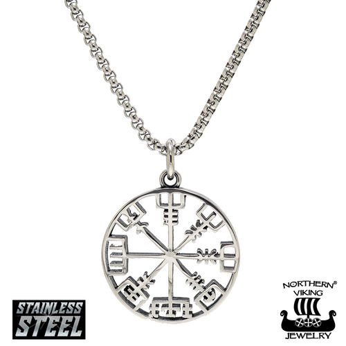 Northern Viking Jewelry® Vegvisir Viking Runic Compass Pendant