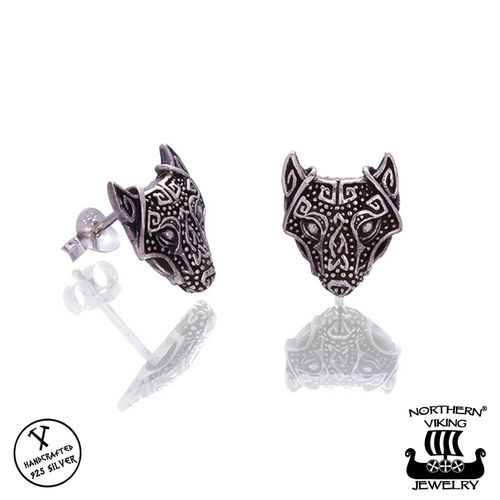 "Northern Viking Jewelry® ""925 Nappikorvakorut Guardian Wolf"""