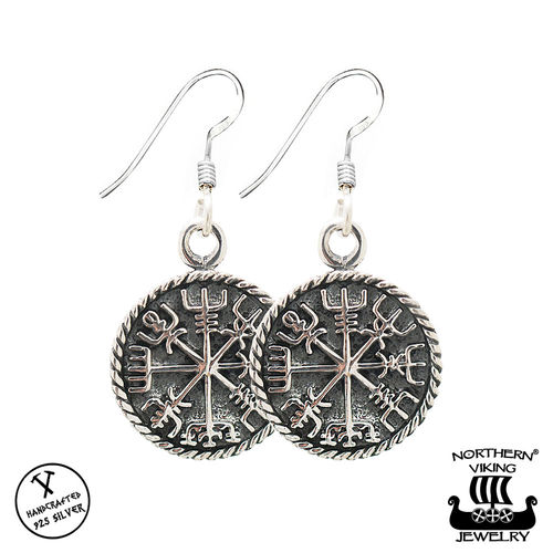 "Northern Viking Jewelry® ""925-Hopea Korvakorut Vegvisir"""