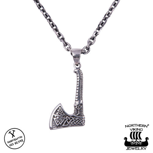 "Northern Viking Jewelry® 925-Hopeariipus ""Valknut Axe"""
