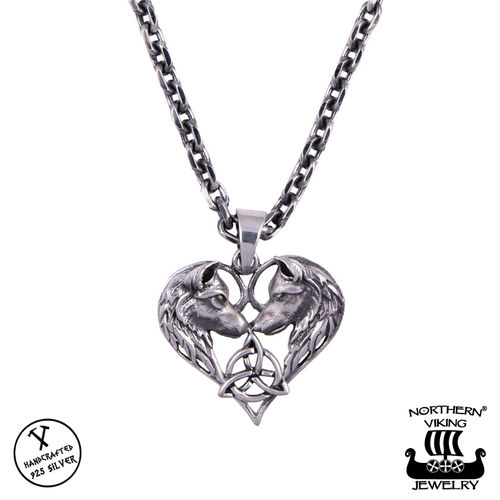 "Northern Viking Jewelry® 925-Hopeariipus ""Heart Wolf"""
