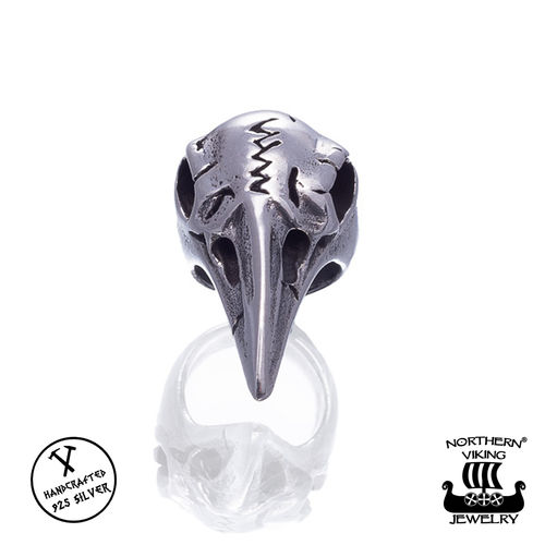 "Northern Viking Jewelry®-Partakoru ""Silver Raven Skull"""