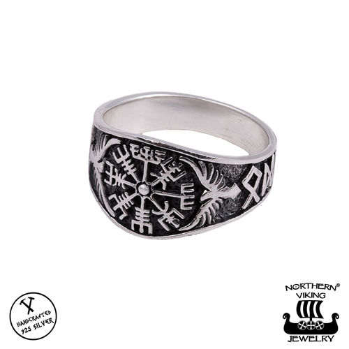 "Northern Viking Jewelry® Naisten Hopeasormus ""Vegvisir"""