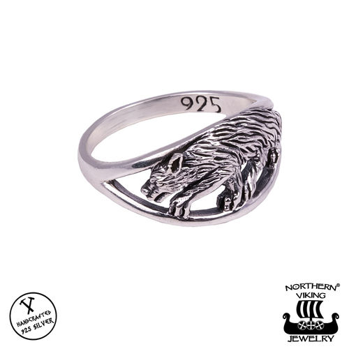 "Northern Viking Jewelry® Naisten Hopeasormus ""Fenrir"""