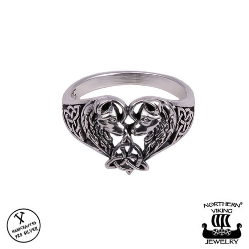 "Northern Viking Jewelry® Naisten Hopeasormus ""Heart Wolf"""