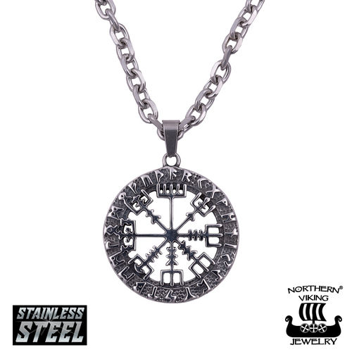 "Northern Viking Jewelry®-Kaulakoru ""6 mm Ankkuriketju + Vegvisir"