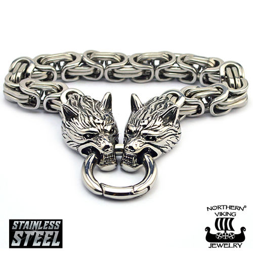 "Northern Viking Jewelry®-Rannekoru ""Clasp Byzantine Wolf Head"""