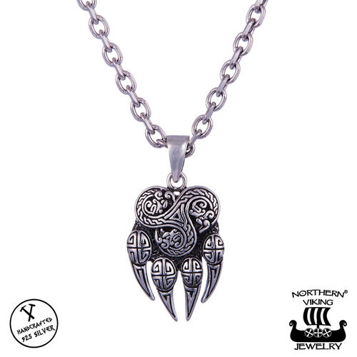 "Northern Viking Jewelry® 925-Hopeariipus ""Bear Claw And Triskele"""