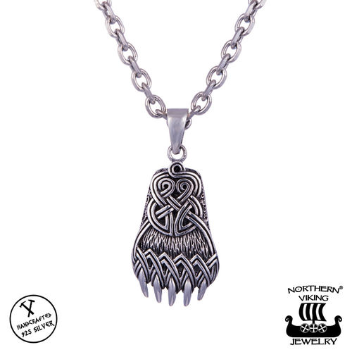 "Northern Viking Jewelry® 925-Silver ""Oxidized Bear Claw Pendant"""