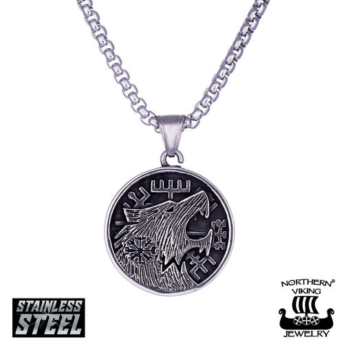 "Northern Viking Jewelry®-Riipus ""Vegvisir Wolf"""