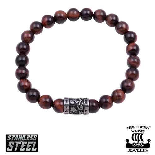 "Northern Viking Jewelry®-Bracelet ""Tiger Eye Runes"""